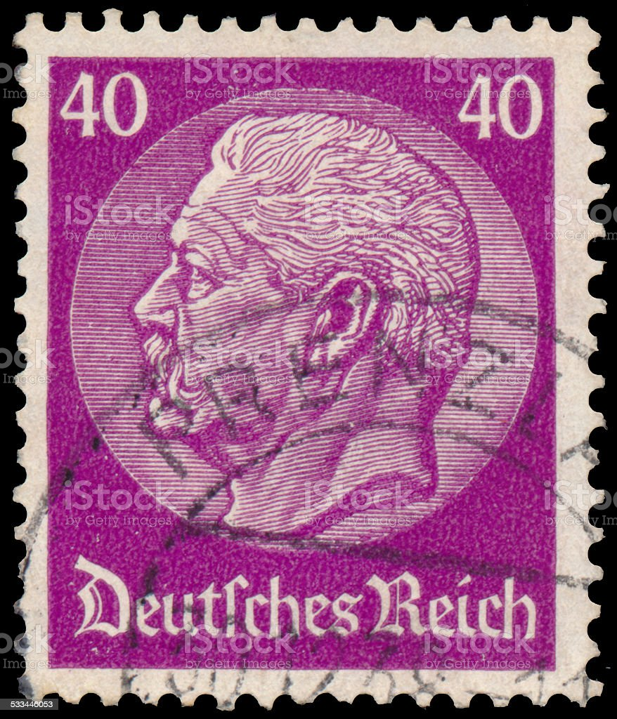 Stamp printed in Germany shows portrait of Paul von Hindenburg stock photo