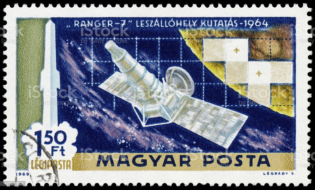 Stamp printed in Hungary shows Ranger 7 stock photo
