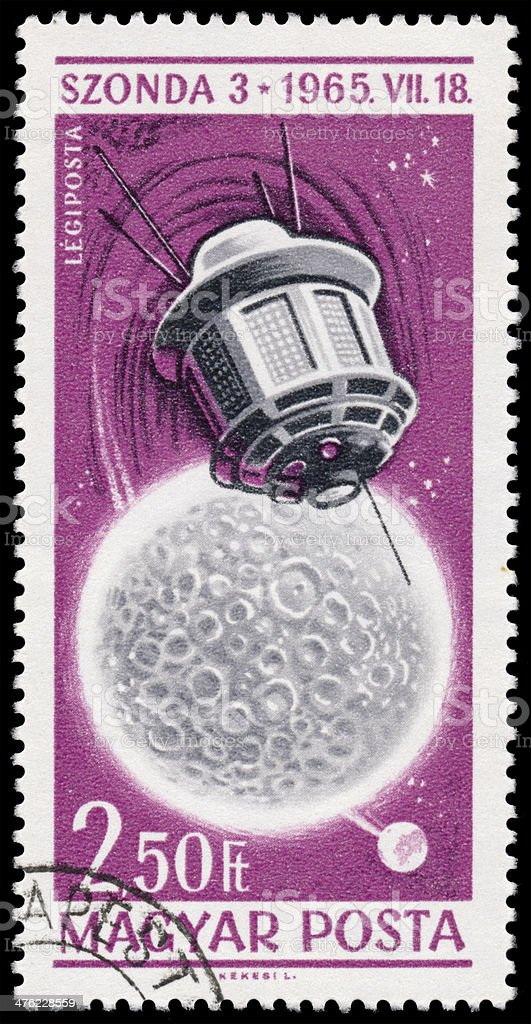 Stamp printed in Hungary shows Space Exploration Achievements stock photo