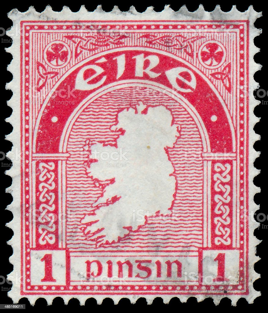 Stamp printed in Ireland shows a map of the country stock photo