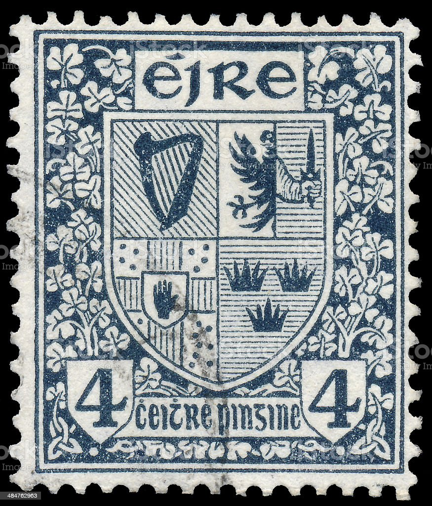 Stamp printed in Ireland shows Coat of Arms stock photo
