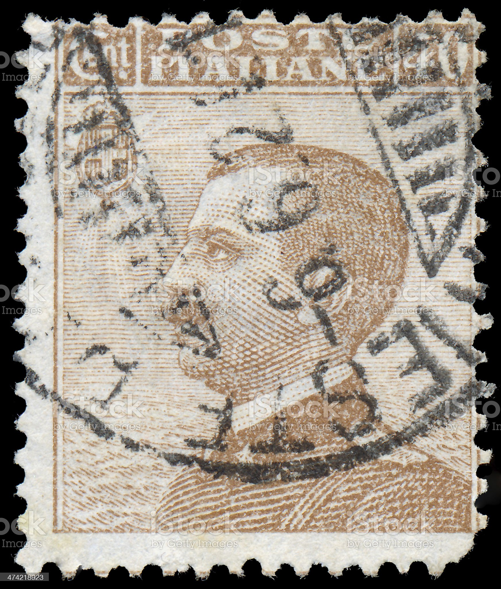 Stamp printed in Italy shows King Victor Emmanuel royalty-free stock photo