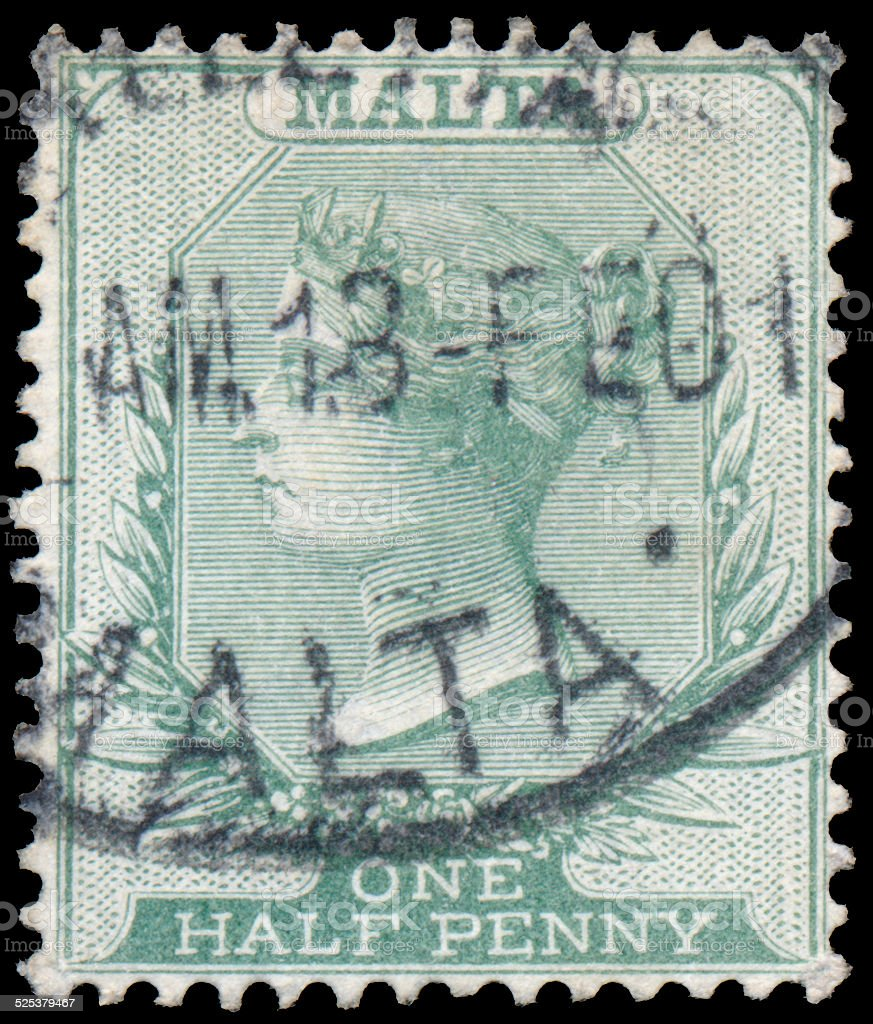 Stamp printed in Malta shows image of the Queen Victoria stock photo