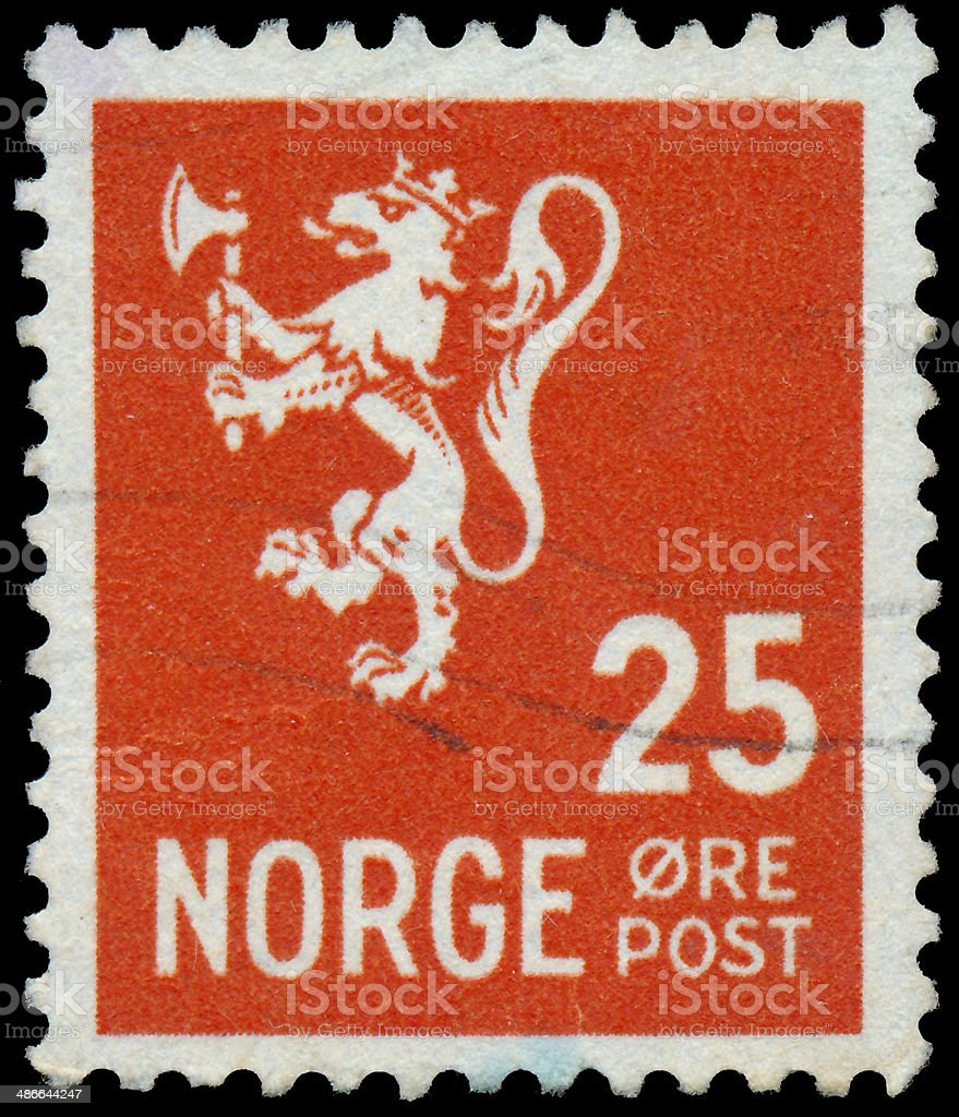 Stamp printed in Norway, shows Norway Coat of Arms stock photo