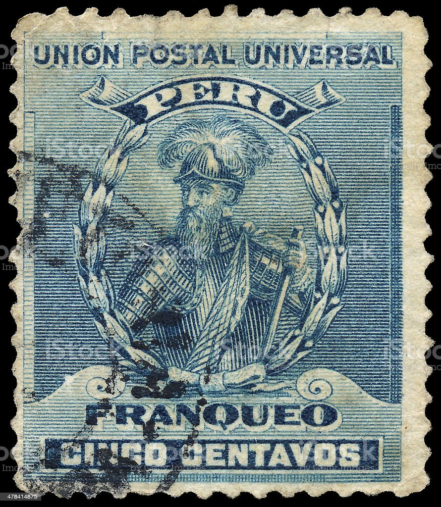 Stamp printed in Peru shows Francisco Pizarro stock photo