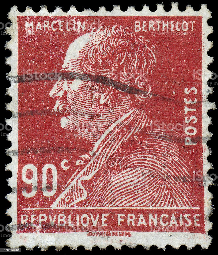 Stamp printed in the France shows Marcelin Berthelot stock photo