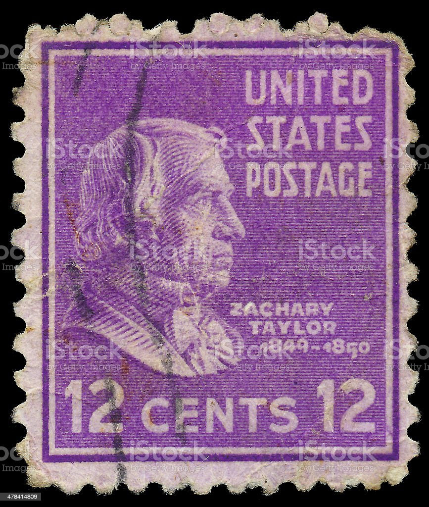 Stamp printed in USA, shows a portrait of Zachary Taylor stock photo
