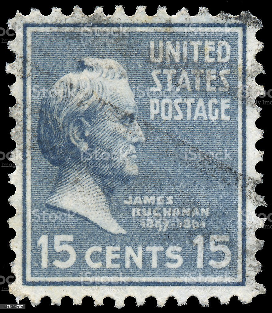 Stamp printed in USA, shows a portrait president, James Buchanan stock photo