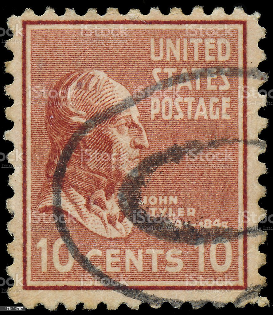 Stamp printed in USA, shows a portrait president, John Tyler stock photo