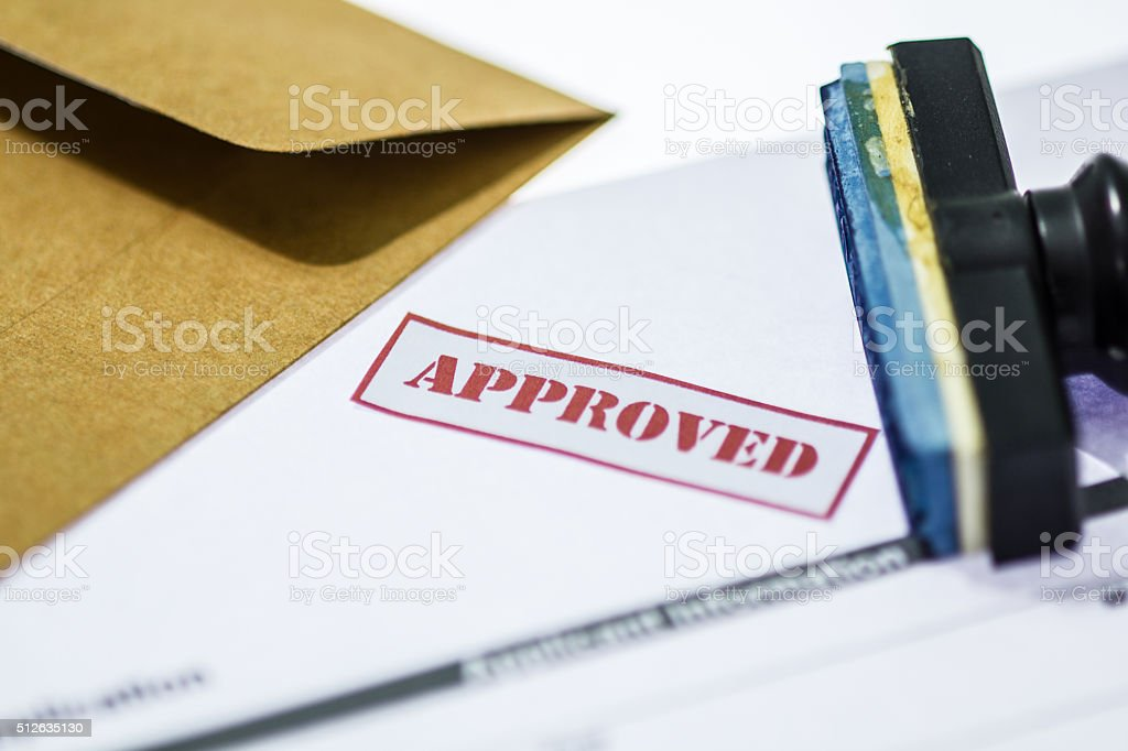 Stamp printed on the approved  application approved. stock photo