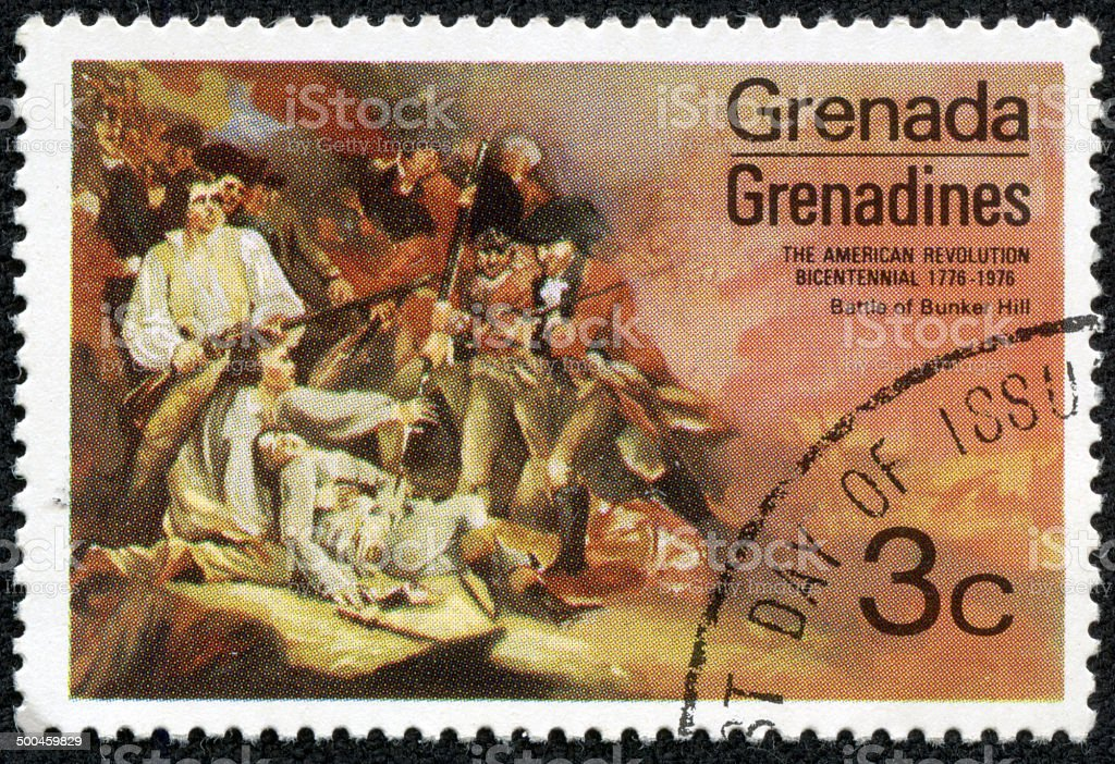 GRENADA stamp shows Bunker Hill Battle stock photo
