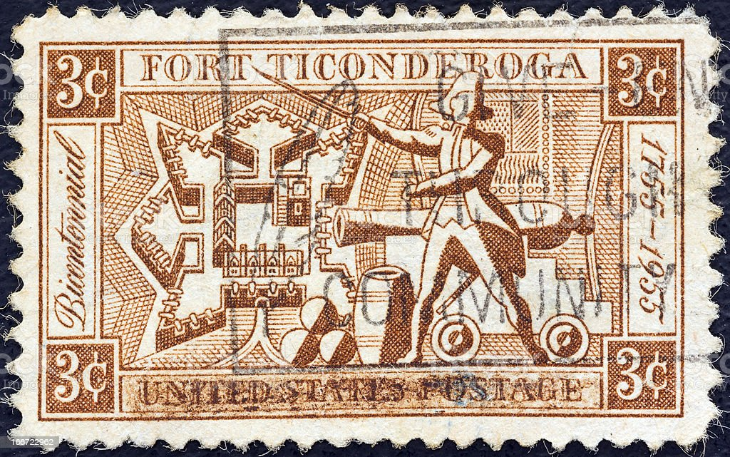USA stamp shows Fort Ticonderoga and Ethan Allen (1955) stock photo