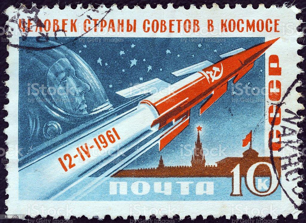 USSR stamp shows Rocket, Gagarin and Kremlin (1961) stock photo