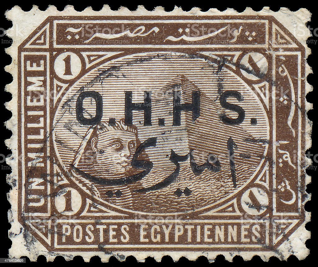 Stamp shows the Great Sphinx and pyramid of Giza stock photo