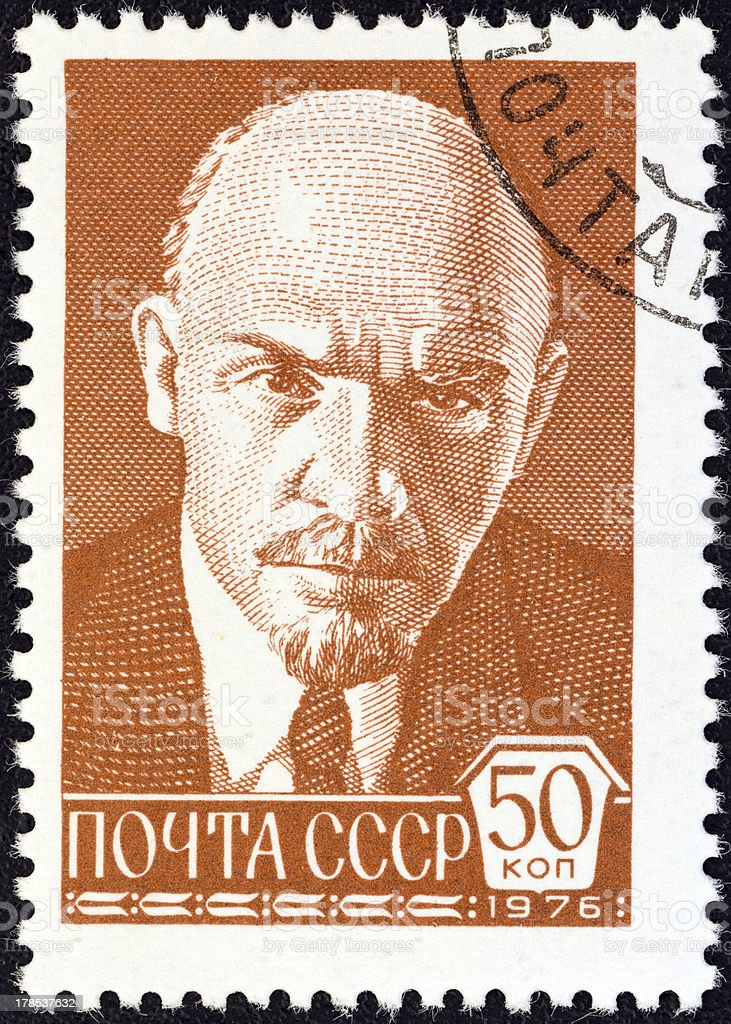 USSR stamp shows Vladimir Ilyich Lenin (1976) stock photo