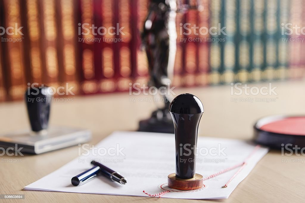 Stamp that is used by a notary public stock photo