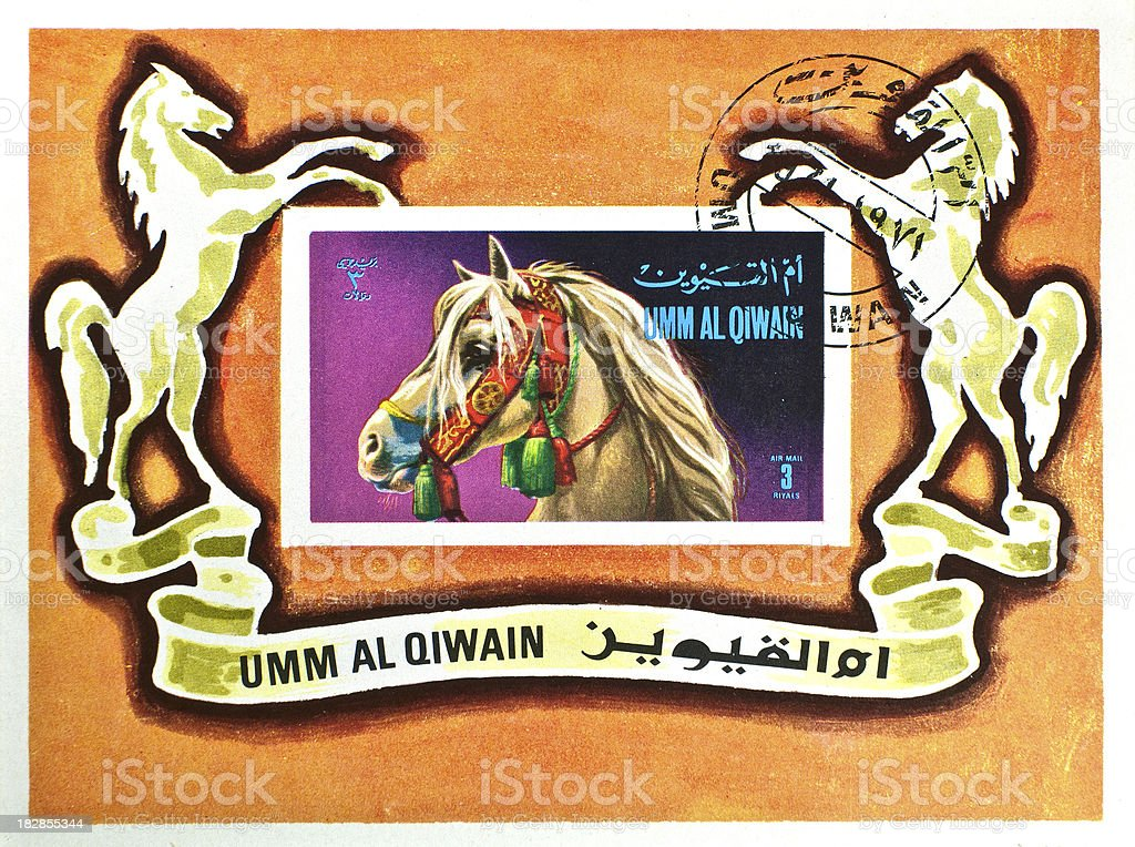 stamp with arabian horse - miniatur sheet stock photo