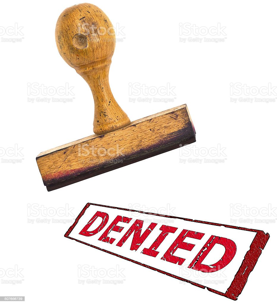 stamp with big message 'Denied' ; on white separated stock photo