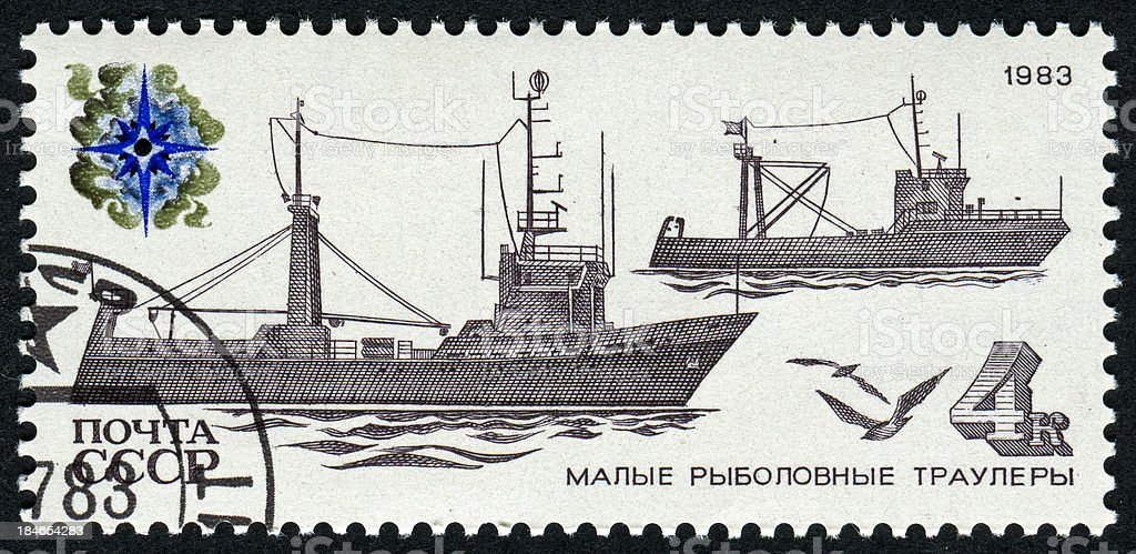 Stamp With Boats stock photo