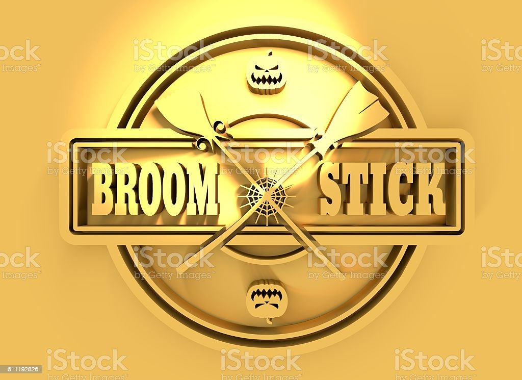 Stamp with broomstick text stock photo