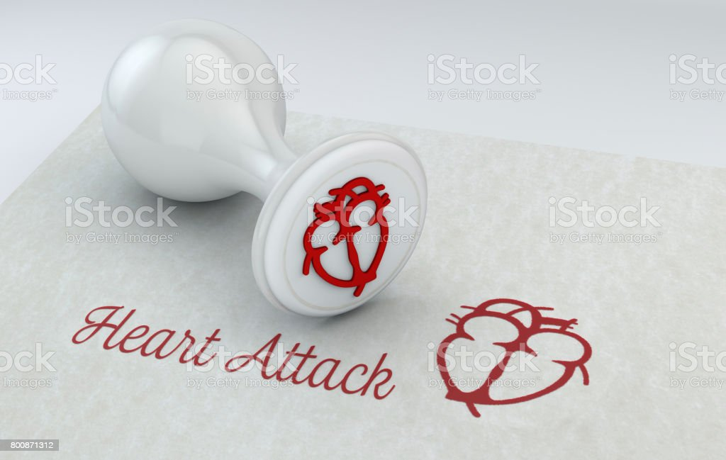 Stamp with heart, medicine, sheet and stamp with heart. Written on the sheet of paper: heart attack. 3d rendering stock photo