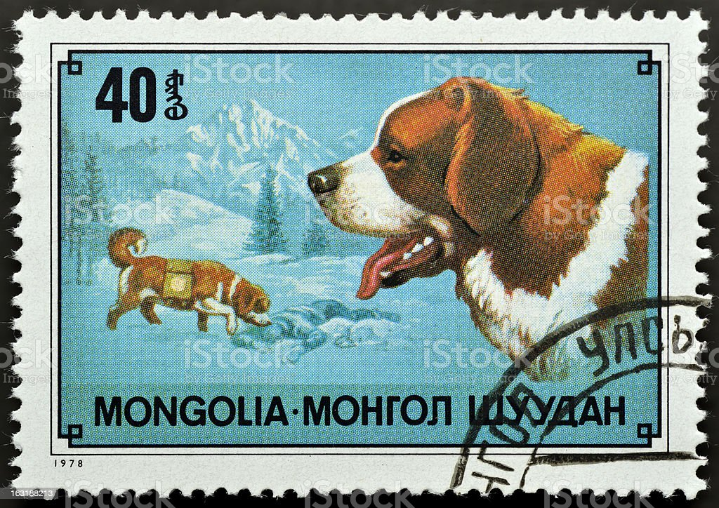 Stamp with Saint Bernard dog royalty-free stock photo