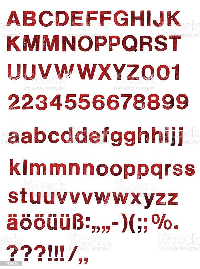 ABC - stamped alphabet stock photo