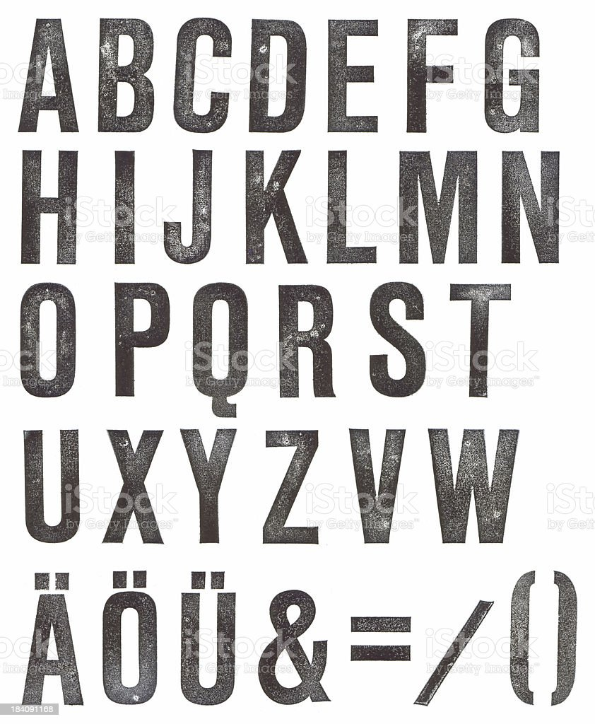 ABC - stamped alphabet stock photo