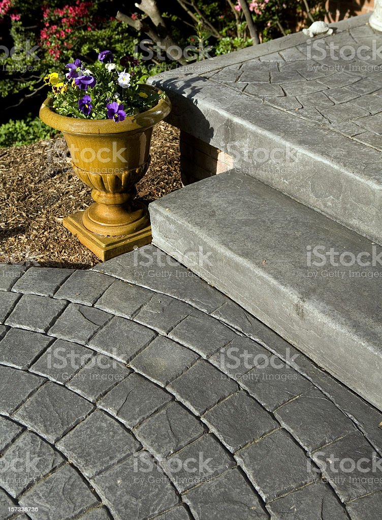 Stamped Concrete Porch and Sidewalk stock photo