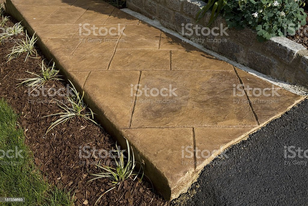 Stamped Concrete Sidewalk royalty-free stock photo