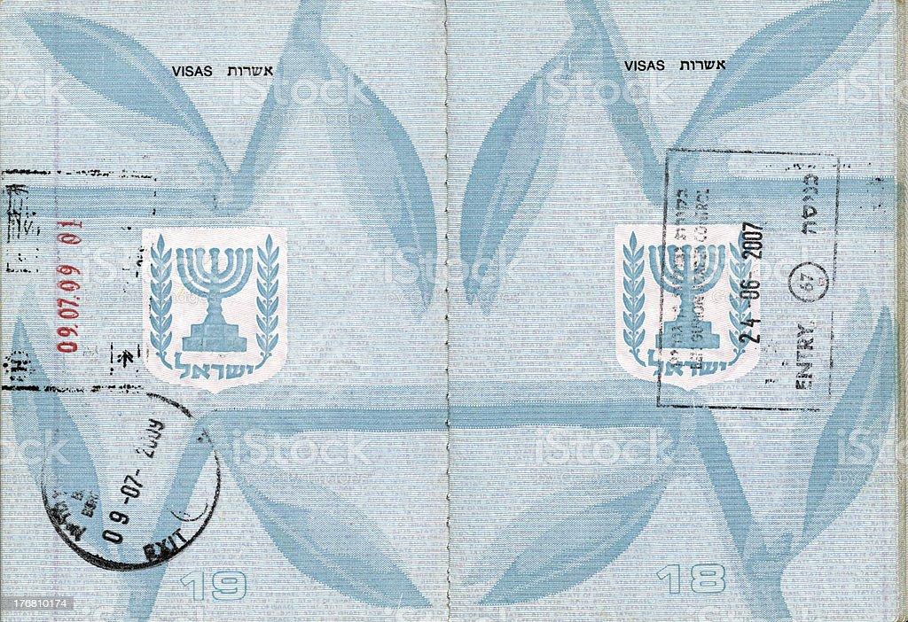 Stamped Israeli Passport royalty-free stock photo