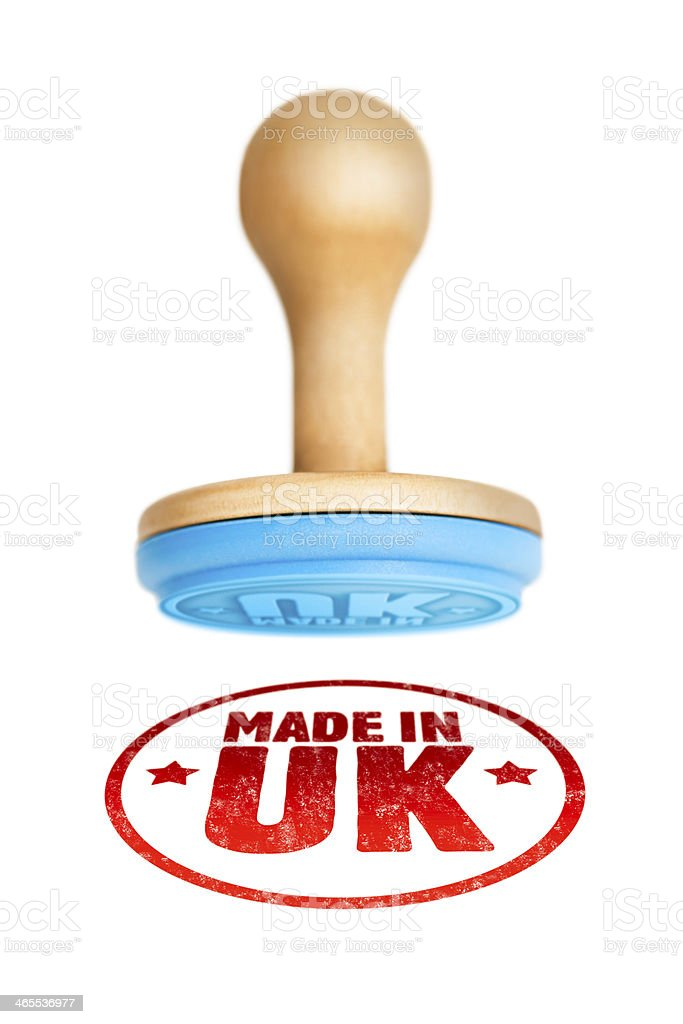MADE IN UK stamped on to a white surface stock photo