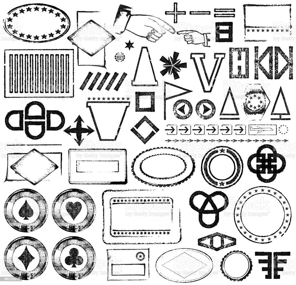 Stamped Symbol and Postmark Design Set stock photo