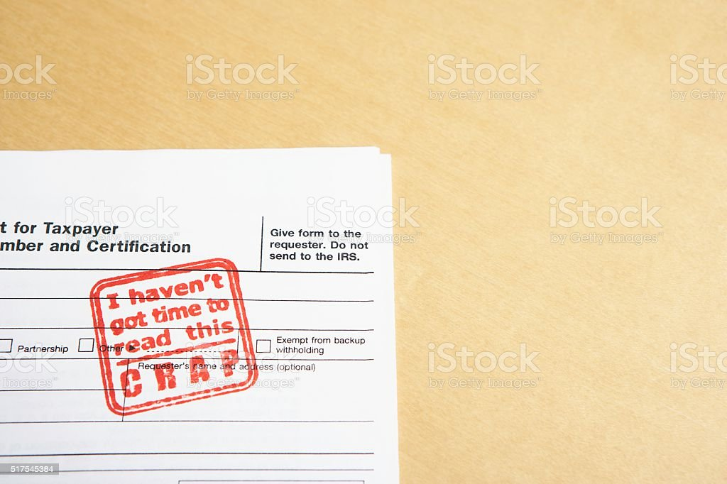 Stamped tax document stock photo