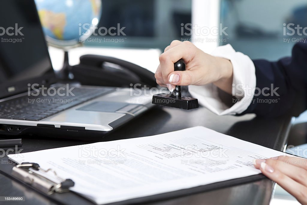 stamping document stock photo
