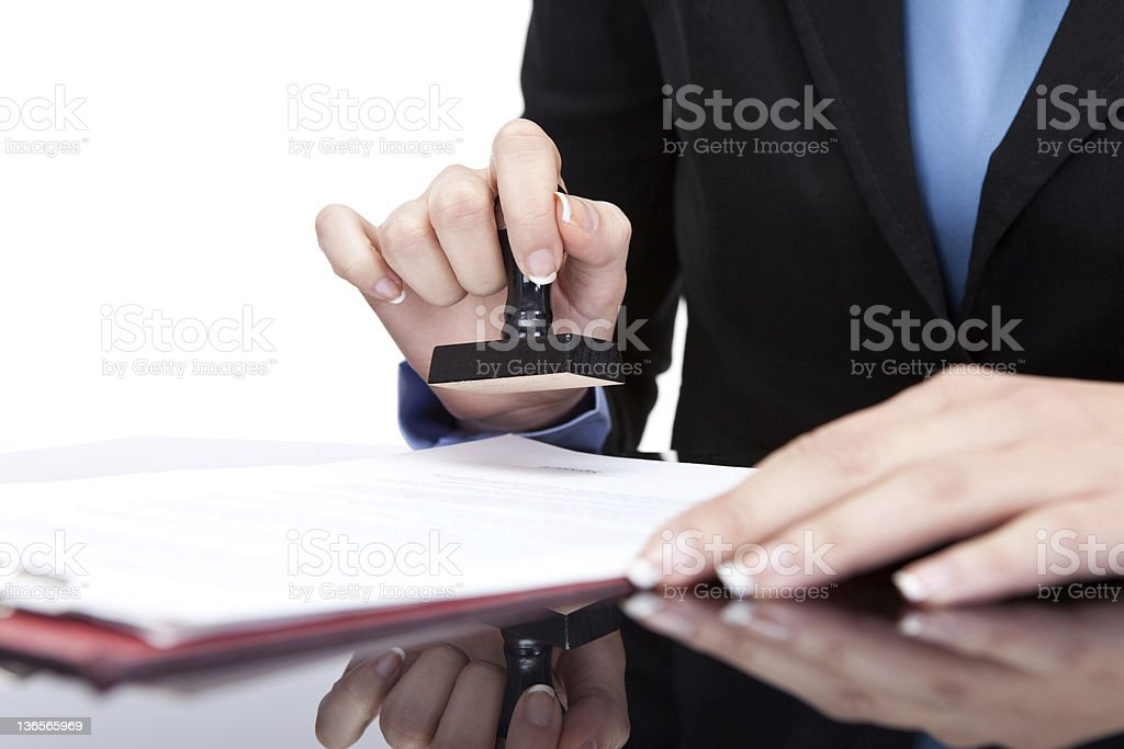 stamping documents stock photo