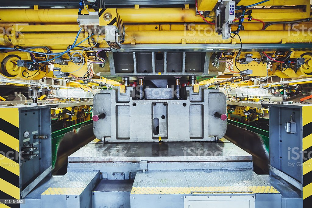 stamping line on car manufacture stock photo
