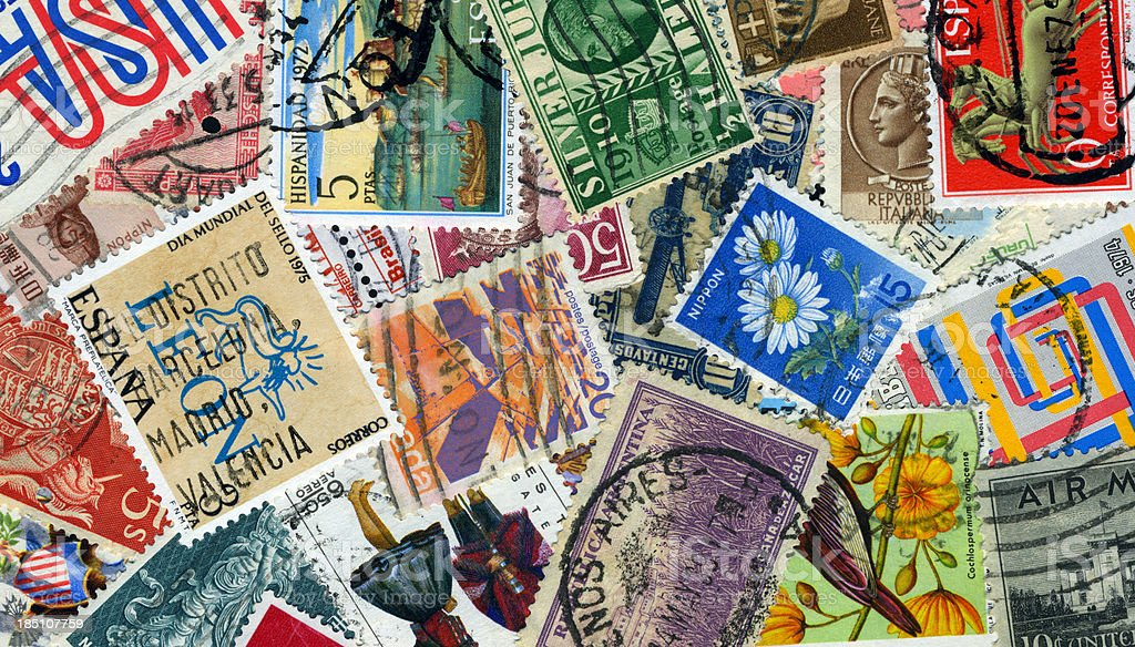 Stamps background stock photo