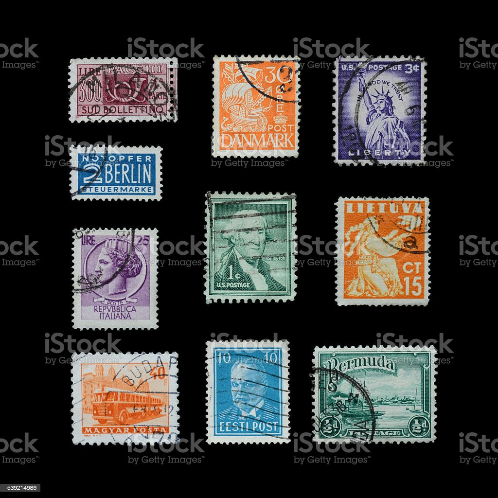 Stamps mail close up. stock photo