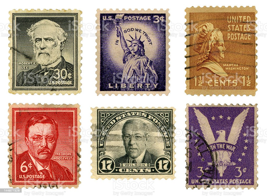 U.S. Stamps stock photo