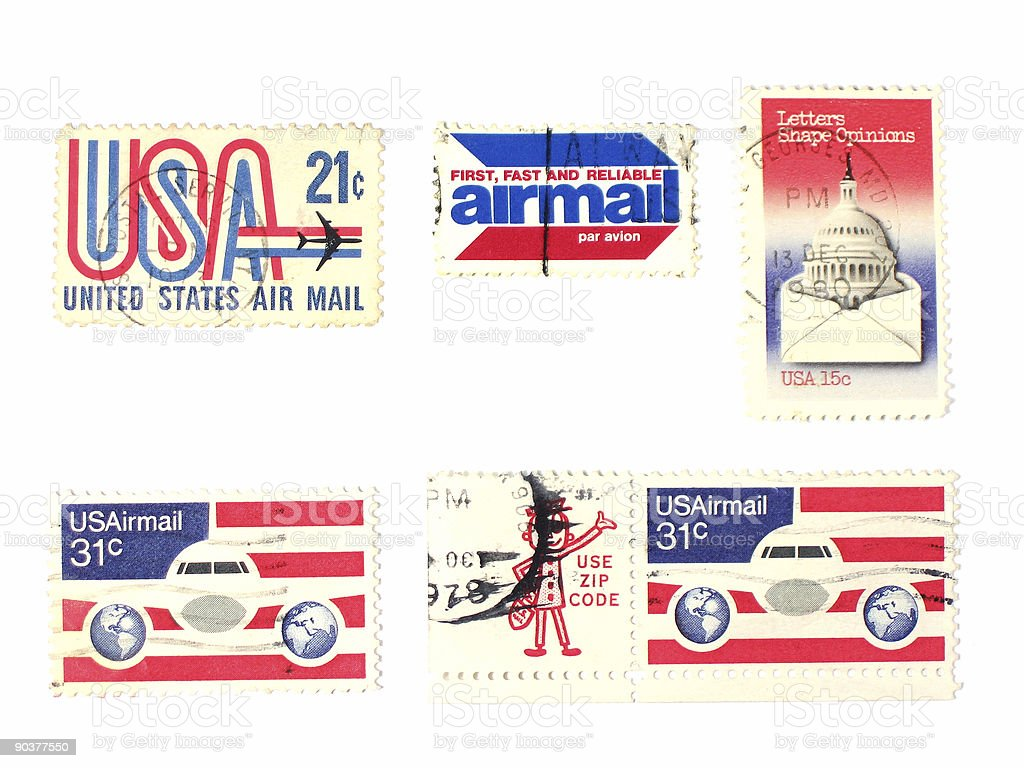 Stamps: US  Air mail royalty-free stock photo