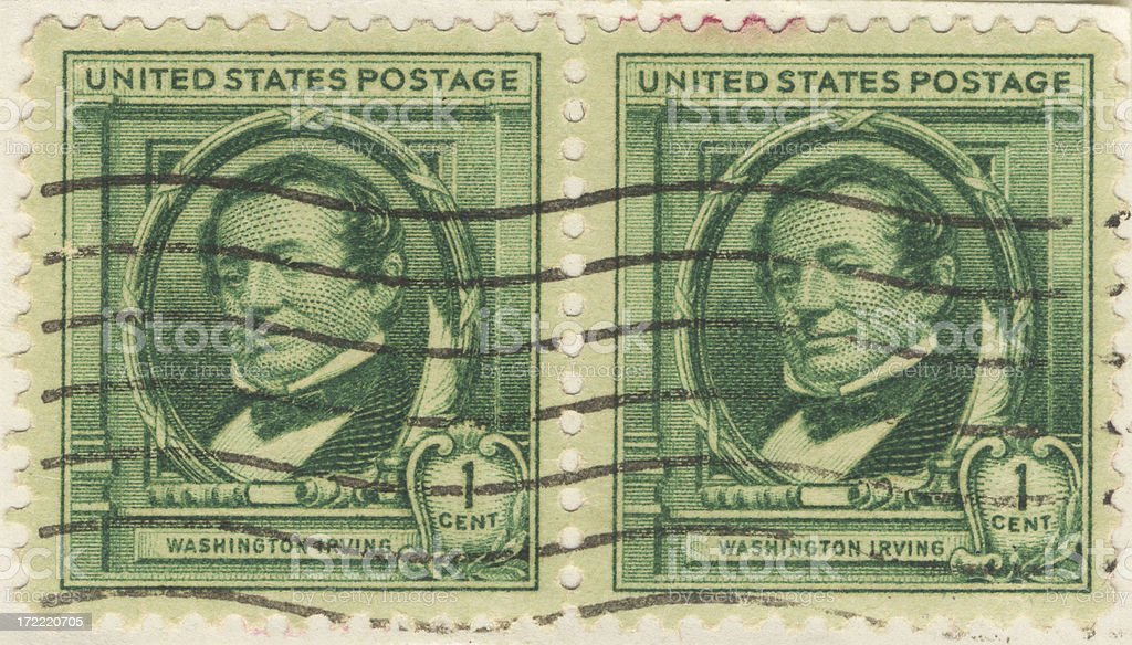 Stamps-US double1¢ stock photo