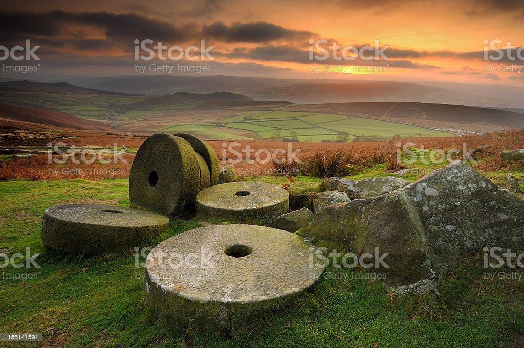 Stanage Edge Millstones, Peak District stock photo