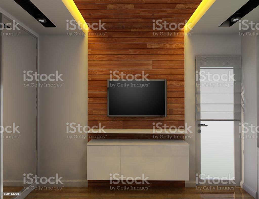3D TV stand design stock photo