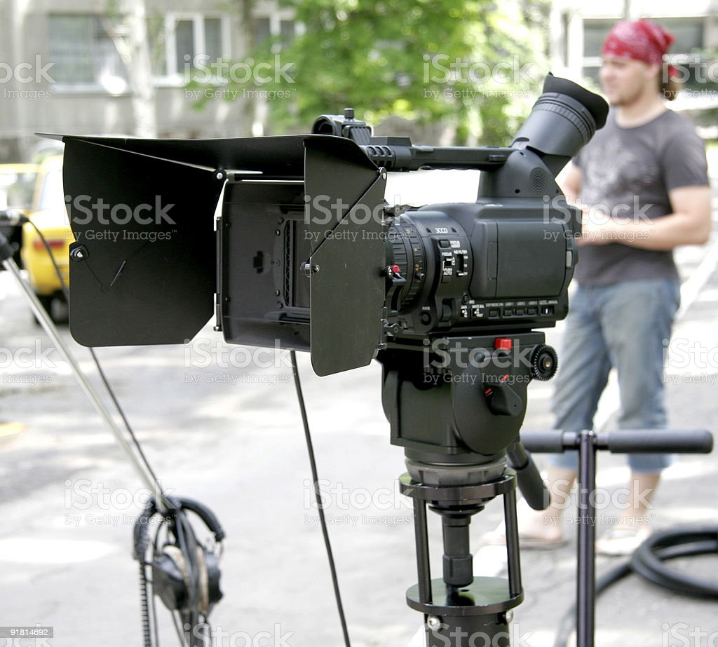 stand hd-camcorder on nature royalty-free stock photo