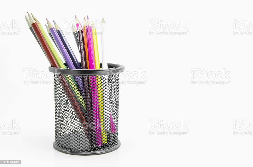 Stand of colorful pencils. stock photo