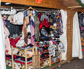 Stand of handmade clothing exposed during a Christmas market