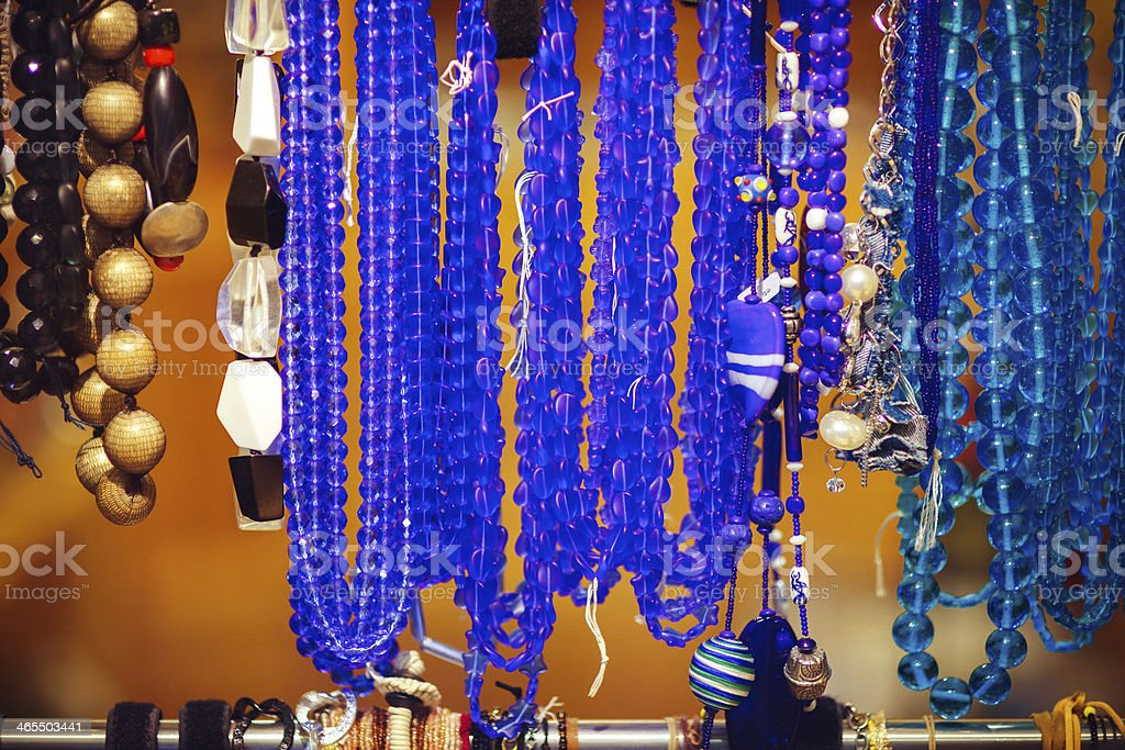 Stand of necklaces in Venice, Italy royalty-free stock photo