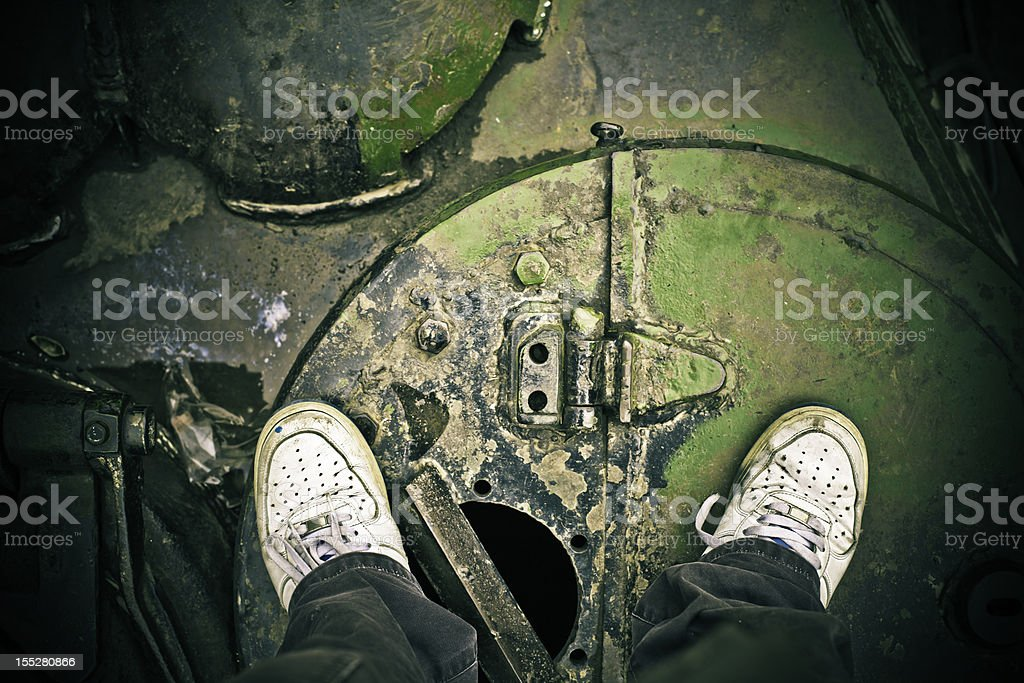 stand on tank stock photo