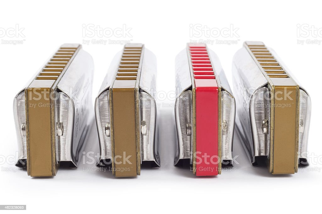 stand out red harp or harmonica (blues harp) stock photo
